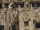 Architectural Detail of a Decorated House in the Old City Area of Sana, Yemen, Middle East Photographic Print by Traverso Doug