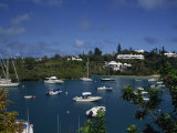 Landscape of Boats in Trott's Pond, Hamilton, Bermuda, Atlantic, Central America Photographic Print by Traverso Doug