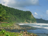 Rugged Coastline with Black Laval Sand Beach, Dominica, Windward Islands, West Indies, Caribbean Photographic Print by Murray Louise