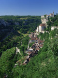 Town and Church Overlook a Green Valley at Rocamadour, Lot, Midi Pyrenees, France, Europe Photographic Print by Richardson Rolf