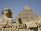 Sphinx and the Pyramid of Cheops, Giza, UNESCO World Heritage Site, Near Cairo, Egypt Photographic Print by Olivieri Oliviero