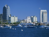 Boats in the Harbour and City Skyline of San Diego, California, USA Photographic Print by Richardson Rolf