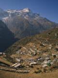 Houses and Terraced Fields of Namche Bazaar in the Khumbu Region, Himalayas, Nepal Photographic Print by Wilson Ken