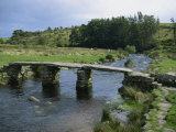 Traditional Clapper Bridge at Postbridge, Dartmoor, Devon, England, United Kingdom, Europe Photographic Print by Woolfitt Adam