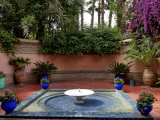 Fountain in the Majorelle Garden, Restored by the Couturier Yves Saint-Laurent, Marrakesh, Morocco Photographic Print by De Mann Jean-Pierre