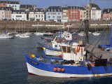 Fishing Boats in Harbour and Houses on Waterfront Beyond, Rosmeur, Douarnenez, Bretagne, France Photographic Print by Thouvenin Guy