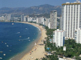 Beach and High Rise Buildings at the Resort of Acapulco, Mexico, North America Photographic Print by Tovy Adina