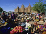 Monday Market Outside the Grand Mosque, UNESCO World Heritage Site, Djenne, Mali, West Africa Photographic Print by Morandi Bruno