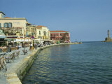 Harbour Waterfront and the Venetian Lighthouse, Chania, Crete, Greece, Europe Photographic Print by Terry Sheila