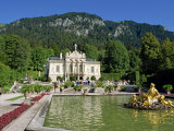 Gilded Statues and Pool in the Gardens in Front of Linderhof Castle, Bavaria, Germany, Europe Photographic Print by Scholey Peter