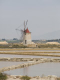 Traditional Sea Salt Beds and Windmill, Mozia, Sicily, Italy, Europe Photographic Print by Olivieri Oliviero