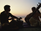 Sitar and Tabla Player Beside the Ganga River, Varanasi, Uttar Pradesh State, India Photographic Print by Wilson John Henry Claude