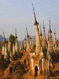 Shwe Inn Thein Stupas, Indein, Myanmar Photographic Print by Schlenker Jochen