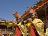 Monk Musicians Blowing Traditional Horns, Hemis Festival, Hemis, Ladakh, India Photographic Print by Simanor Eitan