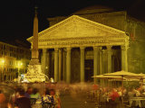 Pantheon Illuminated at Night in Rome, Lazio, Italy, Europe Photographic Print by Rainford Roy