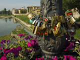 Padlocks of Lovers, Parma Creek from Giuseppe Verdi Bridge, Parma, Emilia Romagna, Italy, Europe Photographic Print by Tondini Nico