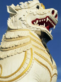 Close-Up of the Huge Lion Statue, at the Foot of the Stairs to Mandalay Hill, Mandalay, Myanmar Photographic Print by Strachan James