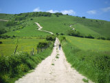 Figure on a Pathway Leading Up a Hill in the South Downs, Near Lewes, Sussex, England, UK Photographic Print by Pate Jenny