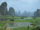 Rice Paddies, Fish Farms and Limestone Pinnacles, Fenglin Karst, Guilin, Yangshuo, Guangxi, China Photographic Print by Waltham Tony