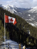 Canadian Flag at the Top of Sulphur Mountain, Banff National Park, Alberta, Canada Photographic Print by DeFreitas Michael