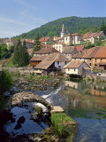 Weir and Remains of a Medieval Bridge on the River Loue, Village of Lods in Franche-Comte, France Photographic Print by Short Michael