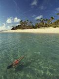 Girl Swimming Underwater, Yasawa Island, Fiji, Pacific Islands, Pacific Photographic Print by Strachan James