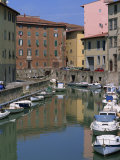 Small Boats Moored in the Harbour, New Venice Quarter, Livorno, Province of Livorno, Tuscany, Italy Photographic Print by Morandi Bruno