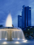 Deutsche Bank with Water Fountain Illuminated at Dusk, Frankfurt Am Main, Germany, Europe Photographic Print by Scholey Peter