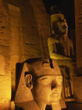 Floodlit Statues of Ramses II, Temple of Luxor, UNESCO World Heritage Site, Luxor, Thebes, Egypt Photographic Print by Strachan James
