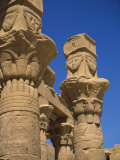 Detail of Column Capitals at the Temple of Hathor, Philae, UNESCO World Heritage Site, Aswan, Egypt Photographic Print by Short Michael