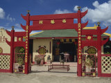 Red Gateway to the Chinese Temple at Limbang in Sarawak, Borneo, Malaysia, Southeast Asia Photographic Print by Poole David