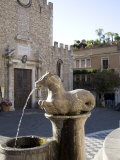 Horse Fountain and the Cathedral of St. Nicola, Cathedral Square, Taormina, Sicily, Italy, Europe Photographic Print by Olivieri Oliviero
