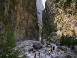 Tourists Walking Through the Iron Gates, Samaria Gorge, Crete, Greece, Europe Photographic Print by Wilson Loraine