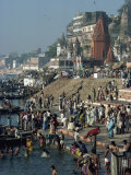 Ghats on the River Ganges, Varanasi, Uttar Pradesh State, India Photographic Print by Woolfitt Adam