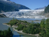Glacier Flowing from the Juneau Icefield to the Proglacial Lake, Alaska, USA Photographic Print by Waltham Tony