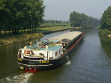 Large Barge on Canal in Northern Germany, Europe Photographic Print by Waltham Tony