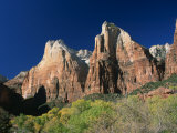 Trees Below Abraham and Isaac Peaks in the Court of the Patriarchs, Zion National Park, Utah, USA Photographic Print by Tomlinson Ruth