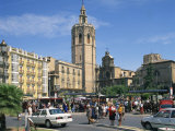 Busy Street Scene on the Plaza De Zaragoza with the Cathedral Beyond in the City of Valencia, Spain Photographic Print by Richardson Rolf