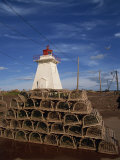 Fishing Baskets and Lighthouse on Prince Edward Island, Canada, North America Photographic Print by Wilson Ken