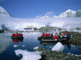 Cruise Passengers on Excursion by Dinghy, Port Lockroy, Antarctic Peninsula, Antarctica Photographic Print by Renner Geoff