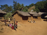 Village Scene, Children in Foreground, Zomba Plateau, Malawi, Africa Photographic Print by Poole David