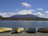 Small Boats Beside Lake Shoji, with Mount Fuji Behind, Shojiko, Central Honshu, Japan Photographic Print by Simanor Eitan