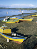 Fishing Boats on the Beach, Zone of Dalcahue, Near Castro, Chiloe Island, Chile, South America Photographic Print by Renner Geoff