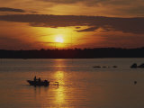 Row Boat Silhouetted over Dragso Bay at Sunset in Summer, at Karlskona, Sweden, Scandinavia, Europe Photographic Print by Thorne Julia