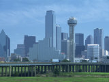 Bridge over the Dallas River Floodplain, and Skyline of the Downtown Area, Dallas, Texas, USA Photographic Print by Waltham Tony
