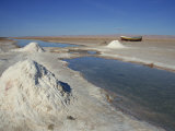 Piles of Salt on Salt Flats, Chott El Jerid, Tunisia, North Africa, Africa Photographic Print by Poole David