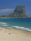Tourists on the Beach at Calpe and the Penon De Ifach, in Valencia, Spain, Mediterranean, Europe Photographic Print by Richardson Rolf