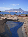 Nets Laid Out to Dry on Dockside, Mindelo, Sao Vicente, Cape Verde Islands, Atlantic, Africa Photographic Print by Renner Geoff