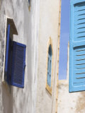 Blue Shuttered Windows on Houses in Medina, Essaouira, Morocco, North Africa, Africa Photographic Print by Jane Sweeney