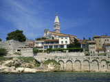 Waterfront and Church of St. Euphemia from the West, at Rovinj, Croatia, Europe Photographic Print by Short Michael